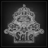 Chalk effect vector Christmas sale placard — Stok Vektör