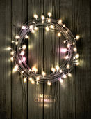 Glowing Christmas wreath made of led lights — Vetorial Stock