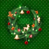 Green Christmas wreath — Stock Vector