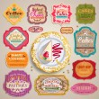 Vintage Valentine's set of grunge stickers, labels and tags for cafe and bakery — Stock Vector
