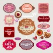 Stock Vector: Vintage Valentine's set of grunge stickers, labels and tags