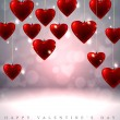 Sparkling Valentine's background with hanging red glass hearts — Stock Vector