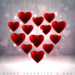 Sparkling Valentine's background with hanging red glass hearts — Stock Vector #39782139