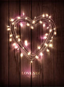 Valentine's heart-shaped wreath made of led lights — Stock Vector