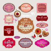 Vintage Valentine's set of grunge stickers, labels and tags — Stock Vector