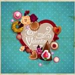 Valentine's Day vintage frame — Stock Vector