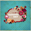 Valentine's Day vintage frame for your text decorated with sweets, cupcakes, cookies roses, doughnut, cakes, chocolate,and golden stars. — Stock Vector