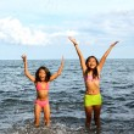 Girls Joy Inside The Water — Stock Photo