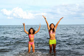 Girls Joy Inside The Water — Stock Photo