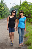 Two friends walking — Stock Photo