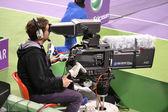 Człowiek, kamery sportowe w akcji — Zdjęcie stockowe