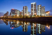 Skyscrapers - office buildings in downtown Beijing at sunset time — Stock Photo
