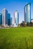 Stadtpark mit modernen gebäude hintergrund in shanghai — Foto de Stock