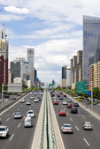 Traffic through downtown Beijing — Stock Photo