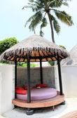 Thatched house på maldiverna — Stockfoto