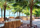 Pohovka na tropické pláži, dovolená pozadí — Stock fotografie