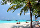 Panorama of tropical beach, travel vacation background — Stock Photo