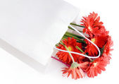Shopping bag with a bouquet daisy flowers — Stock Photo