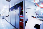 Automated production line in modern Solar silicon factory — Stock Photo