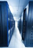A server room with black servers — Stockfoto
