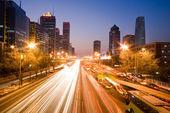 Traffic at night in Beijing — Stock Photo