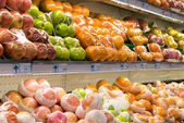 Fresh fruits in a hypermarket — Stock Photo