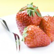 Strawberries on white Plate — Stock Photo