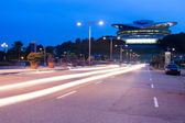 Traffic on sunset at night in Putrajaya, Malaysia. — Stock Photo