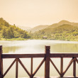 Platform beside lake in park,china — Stock Photo