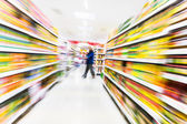 Empty supermarket aisle,motion blur — Stock Photo