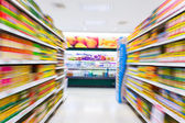 Empty supermarket aisle,motion blur — Photo