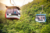 Aerial tramway moving up in tropical jungle mountains — Stock Photo