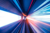 Abstract train moving in tunnel — Stock Photo