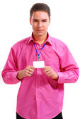 The guy with the badge — Stock Photo