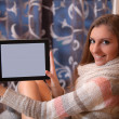 Girl with the tablet — Stock Photo
