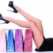 Female Legs Over Bags — Stock Photo