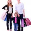 Happy Family With Shopping Bags - Isolated — Stok fotoğraf