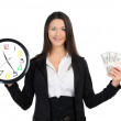 Business woman with clock and money — Stok fotoğraf