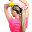 Woman practicing fitness — Stock Photo