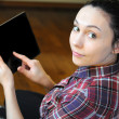 Young Woman with Digital Tablet at Home — Stock Photo