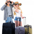 Two prepare to go in a travel isolated on white background — Stock Photo