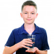 Boy drinks water — Stock Photo