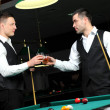 Young with drinks in their hands to play snooker at the club — Stock Photo