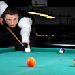 Young person playing snooker in club — Stock Photo #22489165