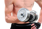 Fitness - powerful muscular man lifting weights — Stok fotoğraf