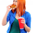 Fast Food Woman — Stock Photo