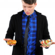 Royalty-Free Stock Photo: Isolated young man with burgers and salad