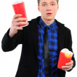 Isolated man with fast food — Stock Photo