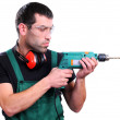 Man with drill — Stock Photo