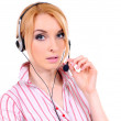Lady call center operator — Stock Photo
